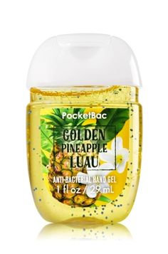Golden Pineapple Luau - PocketBac Sanitizing Hand Gel - Bath & Body Works - Now with more happy! Our NEW PocketBac is perfectly shaped for pockets & purses, making it easy to kill 99.9% of germs when you're on-the-go! New, skin-softening formula conditions with Aloe & Vitamin E to leave your hands feeling soft and clean.
