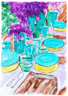 Turquoise Painting. Garden Table Setting art. Modern wall art. Home decor garden painting.Table art.Original acrylic. Party art.Gift for her