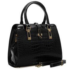 VK Designer - Gorgeous Croc Faux Leather High Gloss Finish Tote Handbag Tote Handbags, High Gloss, Crocs, It Is Finished, Leather, Design, Fashion, Crocheted Purses, Bags