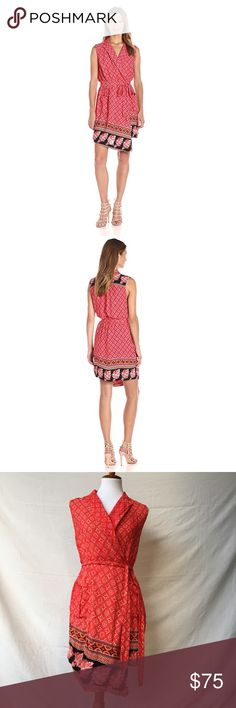 """MINKPINK Spice Market sleeveless wrap dress The spice market sleeveless shirt dress is the perfect addition to your spring wardrobe. This dress has a matching print waist tie and front pockets, faux wrap, and asymmetrical hemline. Beautiful boho print in red, pink and orange across a tie dye pink base. Gently pre-loved, in impeccable condition.  Size XS. Runs TTS for brand. Measures approximately: 34"""" bust 34"""" long   Check out my closet & bundle! MINKPINK Dresses Midi"""