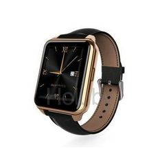 Full View HD LCD Screen Heart Rate Sensor Pedometer Remote-control Smartwatch with Leather Brand for Smartphone - Gold