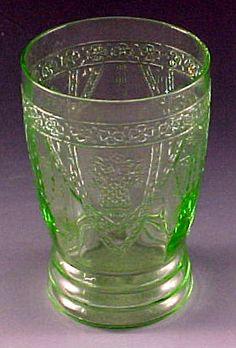 Georgian Lovebirds Green Depression Glass Tumbler