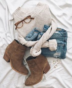 cream sweater, medium wash skinny jeans & brown boots
