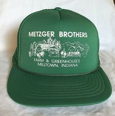 wholesale dealer d9061 aeb79 Metzger Brothers Farm Milltown IN Trucker Mesh Foam Rope Hat Cap Vintage  Green