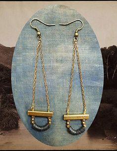 Brass chain earrings as versatile as your favorite jeans. #etsyjewelry