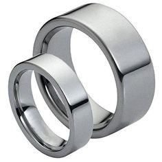 Men & Ladies 8MM/6MM Tungsten Carbide Classic Flat Pipe Cut Shiny High Polish Wedding Band Ring Set, Size: Ladies Size 5 - Mens Size 9, cobalt