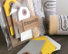 Yellow and Grey wrapping kit - luggage tags and bakers twine packaging set - gift wrap kit