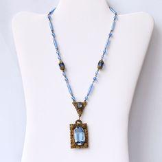 Vintage Czech Blue Glass Art Deco Necklace