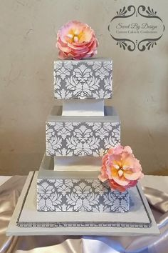 Gray Damask Wedding Cake by SweetByDesign