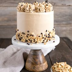 This Banana Chocolate Chip cake is paired with the most amazing peanut butter frosting you will ever have!