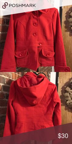 Francesca's Collections Jack BB Dakota peacoat This hooded jacket is gently worn, short in length, has big red buttons and pockets, and definitely makes a statement. Make reasonable offer. Jack by BB Dakota Jackets & Coats Pea Coats