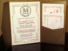 100 quantity Gold & Coral Pocket Wedding by BellaAnnouncements, $250.00