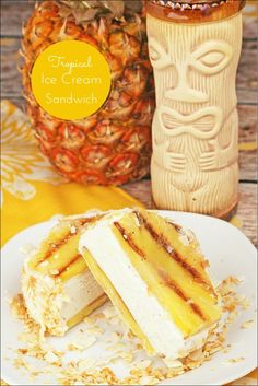 Planning a Hawaiian luau party? How about making these Tropical Ice Cream Sandwich made with vanilla ice cream, grilled fresh pineapple, and toasted coconut! Get the gluten free dessert recipe at This Mama Cooks ! On a Diet