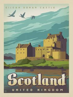 MCS Inch Original Poster Frame Black - Scotland: Eilean Donan Castle – Our latest series of classic travel poster art is called the Worl - Retro Poster, Poster S, Poster Prints, Art Prints, Posters Decor, Art Posters, Illustrations Vintage, Eilean Donan, Scotland Castles