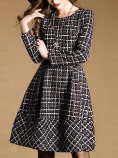 Tweed Dress Winter Dresses 2015 Long Sleeve Pin Up Plaid Dress Plus Size Women Clothing Vintage Retro Robe Hiver Vestidos Winter Dresses, Casual Dresses, Fashion Dresses, Dress Winter, Maxi Dresses, Tweed Dress, Wool Dress, Pretty Outfits, Pretty Dresses