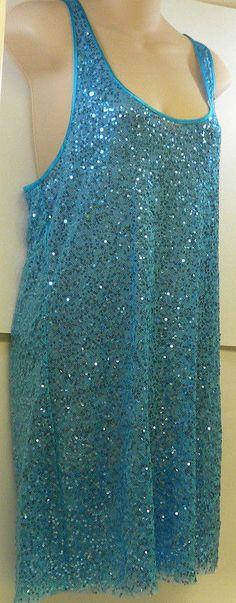 Victoria's Secret Blue Sequin Tulle Sheer Slip Dress Medium #VictoriasSecret #FullSlips
