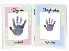Big Sister/Baby Brother Handprint Frame.  An adorable gift to welcome baby brother and celebrate big sister! 5x7 white double tabletop frame with spaces for big sister and baby brother's handprints. Comes with two child-safe silver ink pads with instructions. Celebrate the wonderful beginnings of new life, new roles and new relationships.