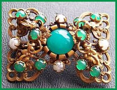 Signed CZECH Brooch Antique Glass Cabochon Green & White Gold Metal