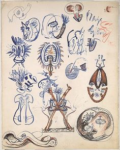 """Untitled Sheet of Studies - 1939-42 - Pen, brush and ink, india ink, graphite, and colored pencil on paper - H13""""XW10.25"""" - Metropolitan Museum of Art New York - Copyright PKF/ARS"""