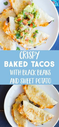 These Crispy Baked Black Bean and Sweet Potato Tacos are baked to perfection in the oven and are topped with delicious avocado salsa! This crispy baked taco recipe is gluten free and vegetarian and perfect for families and children! Vegetarian Recipes Dinner, Lunch Recipes, Mexican Food Recipes, Cooking Recipes, Vegetarian Sweets, Vegetarian Tacos, Healthy Tacos, Dinner Healthy, Vegan Meals
