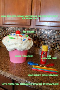 "Make these HUGE cupcakes for under $2.00 each! Insulation Spray Foam, a Plastic Container from the Dollar Tree, a Red Balloon, and some Milkshake Straws. You can paint the ""icing"" for different flavors."