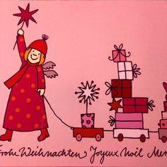 Hier kommen die Geschenke! Postkarte für Räder 2012 #stefaniekrauss #illustration #himmlischeschwestern #florentine #design #zeichnung #drawing #colorlove #christmasdesign #stars #gifts