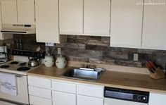 Great idea! Use old wood pallets into kitchen backsplash. I may want to stain and polyurethane it. -V