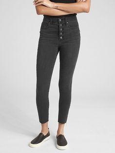 Gap Womens High Rise True Skinny Ankle Jeans In 360 Stretch (Black) True  Black 79d480ab3
