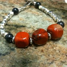 Red Bracelet Silver Jewelry Jasper Natural Gemstone Jewellery Red and Black Handmade Unique