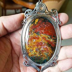 For sale Pendant Natural Bloodstone Multicolor High quality stone.
