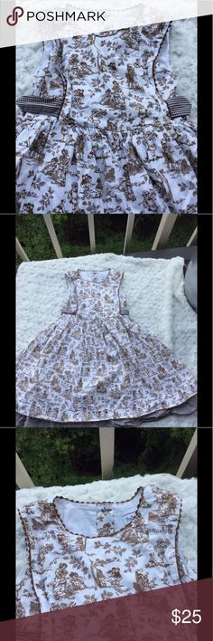 Polly & Friends Child Activities Print Aline Dress Amazing Full A line dress printed with old fashioned scenes of childhood in toile. Has 🎀 on back and underskirt.  Perfect party event dress. Size 4T Polly & Friends Dresses Formal