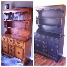Chalk Paint Makeover on 1960's Maple Hutch