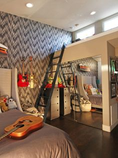 Love the guitars and the wallpaper!  A Loft for Legos and Hours of Fun - eclectic - kids - san diego - Shelley Gardea