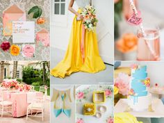 """Sara Burnett from Burnett's Boards creates the most beautiful inspiration boards for Brides. How gorgeous is this Colourful & Bright Summer Wedding board!   Sara says """"The two most unforgettable images in this wedding inspiration board are definitely that yellow skirt and amazing painted cake. Both are statements that really wow and are perfectly suited for a poolside, destination, or outdoor anywhere summer wedding!""""  #midlandsbridalfair #burnettsboards #summerwedding #inspirationboard"""