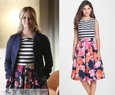 76ce133775 Pretty Little Liars: Season 6 Episode 11 ALison's Floral & Striped Flare  Dress Outfitek Munkahelyre