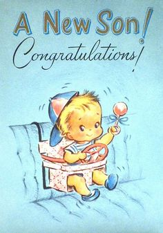 Vintage Baby Shower Card - 1961  Brother will be here in a few weeks!