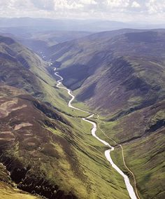 Shot of the River Tilt snaking through Glen Tilt, which runs south into the Perthshire town of Blair Atholl.  Courtesy of Daily Mail UK