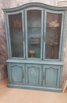 SALE!!  Now 20% Off!  Hand Painted and Distressed Vintage Stanley China Cabinet in 5-Layer Blue, Shabby Chic, French Provincial China Hutch