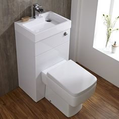 Series 300 Space Saving Bathroom White Combination Toilet WC & Basin Sink Un in Home, Furniture & DIY, Bath, Bathroom Suites Small Downstairs Toilet, Small Toilet Room, Downstairs Cloakroom, Tiny Wet Room, Corner Toilet, Tiny Bathrooms, Tiny House Bathroom, Bathroom Design Small, Small Toilet Design