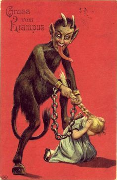 That in modern Austria young men who dress up as Krampus are filled with spirits that are more alcoholic than spiritual, may explain why they target comely females for hair pulling. Description from goodreads.com. I searched for this on bing.com/images
