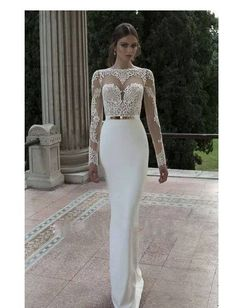 Vintage Sheer Lace Long Sleeves Open Back White Satin Mermaid Evening Dresses 2014 Prom Party Dresses