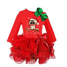 Children kids Girls Xmas Christmas Party Swing Dress Santa snowman Top UK 3-14