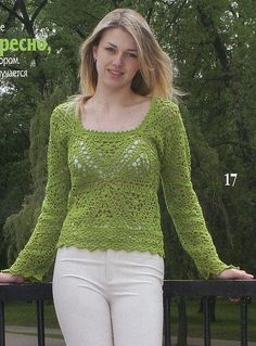 Green Long Sleeve Top with Triangular Motifs free crochet graph pattern