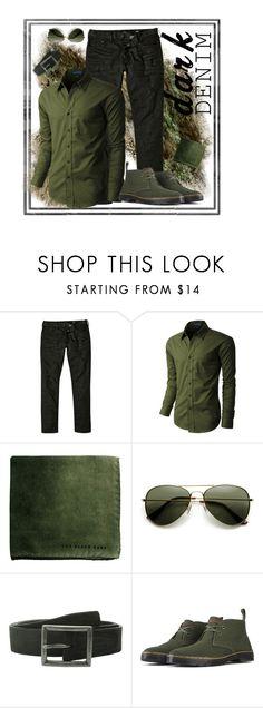Green denim envy by bella0678 on Polyvore featuring LE3NO, River Island, Dr. Martens, ZeroUV, John Varvatos, men's fashion, menswear, darkdenim and menswearessential