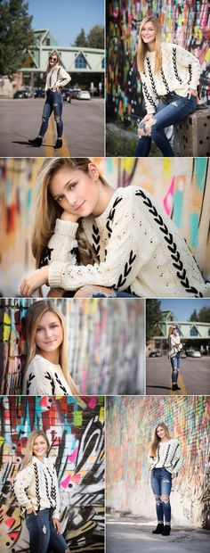 Funky downtown mural with chunky sweater, jeans and wedges. Senior Year Pictures, Senior Pictures Sports, Senior Photos Girls, Senior Girl Poses, Senior Picture Outfits, Senior Girls, Senior Session, Downtown Senior Pictures, Senior Posing