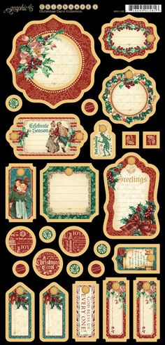 Graphic 45 Christmas Carol Die Cut Chipboard Tags Two