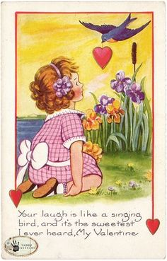 Vintage Valentine with bluebird bringing a girl a heart, from tammytutterow.com.