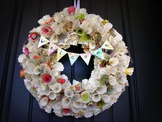 Awesome Paper Cone Wreath Tutorial - also shows how to make the wreath base itself from newspapers and tape