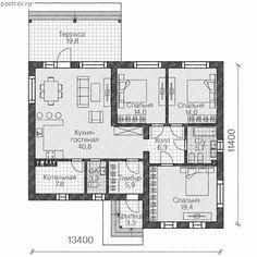 Лучший загородный одноэтажный дом № U-117-1K - 1-й этаж