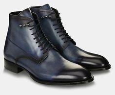 Handmade Mens leather boot, Mens Navy blue leather boot, Ankle leather boot men - Boots
